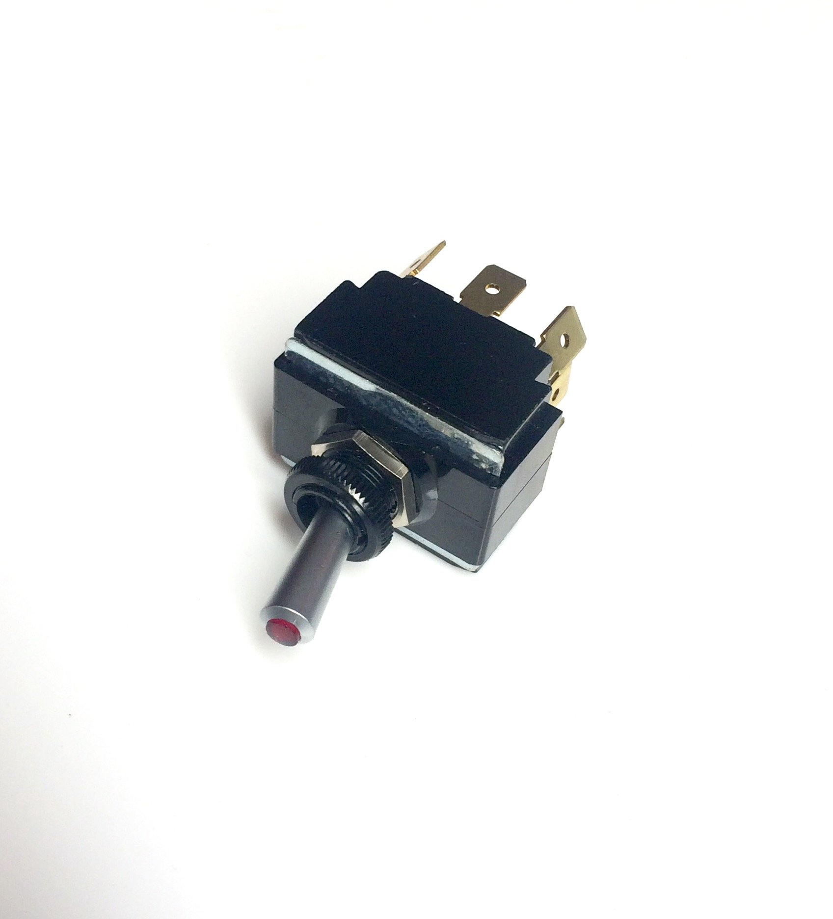 Toggle Switch ON/OFF/ON, DPDT, Lighted with Red Lens