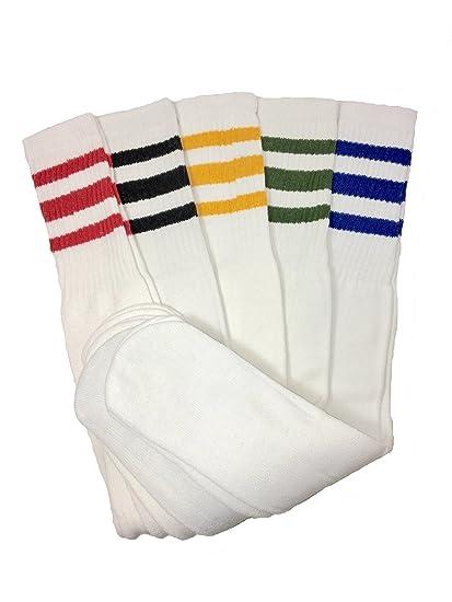 Mens 5 Pairs Classic Multi Striped Sports Tube Socks,Sock Size 10 15 by Full 90