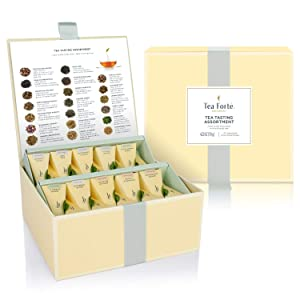 Tea Forte Organic Assorted Variety Tea Sampler, Tea Tasting Tea Chest Gift Box with 40 Handcrafted Pyramid Tea Infuser Bags, Black Tea, Herbal Tea, Oolong Tea, Green Tea, White Tea