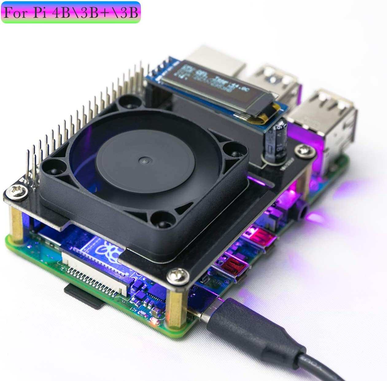 Yahboom Raspberry Pi 4B 3B+ 3B Cooling Fan Intelligent Temperature Control I2C OLED Display Programmable RGB Light(Quiet)