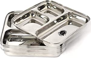 King International 100% Stainless Steel Three in one Dinner Plate | Three sections divided plate | Three section plate | Set of 6 Mess Trays Great for Camping | - 24.5 cm