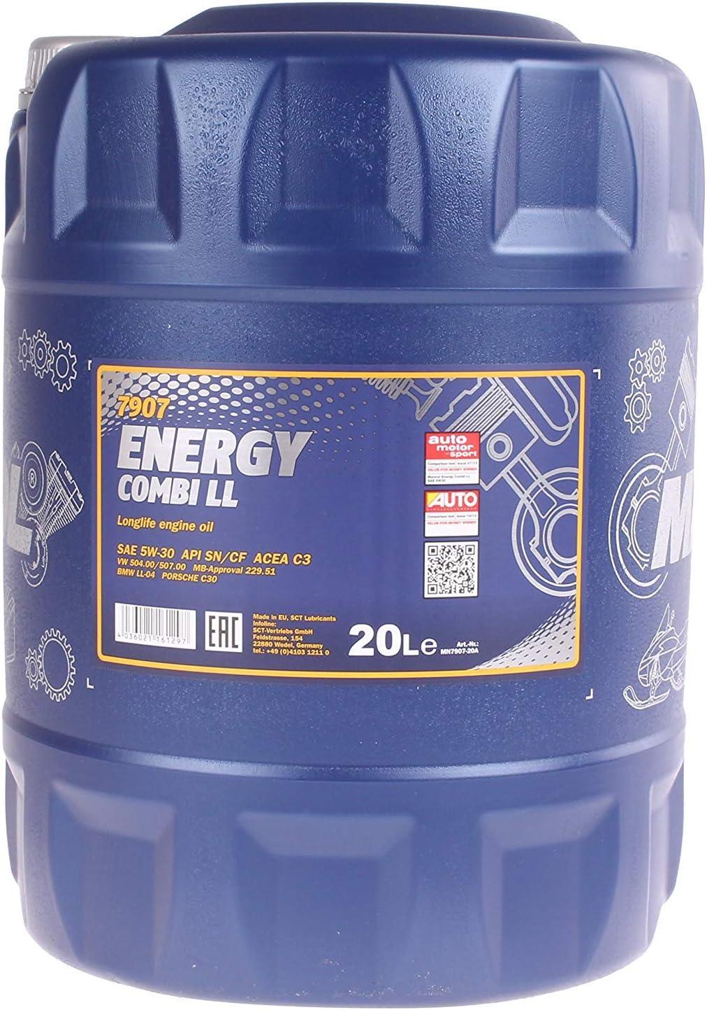 Mannol Energy Combi Ll 5w 30 Api Sn Cf Motorenöl 20 Liter Auto