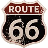 HANTAJANSS Route 66 Signs, Vintage Metal Shop Sign, U.S. 66 High Way Road Tin Sign for Home & Garage Wall Decoration 12× 12 I