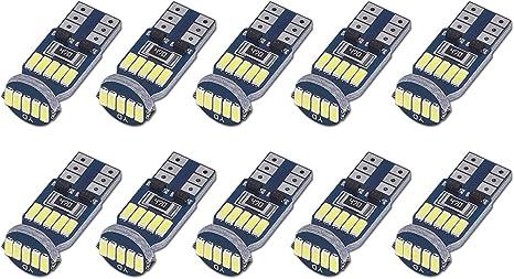 2 Pack Lampade T10 Led 10SMD 5630 Can-Bus BIANCO Posizione Luce Targa Luminosi