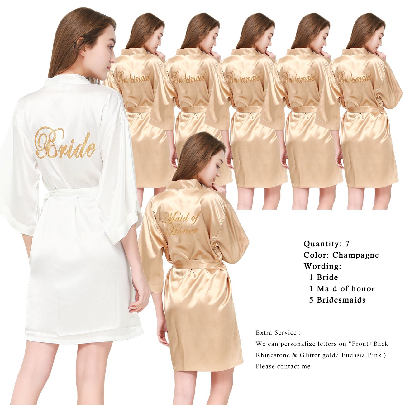 PROGULOVER Set Of 7 Women's Satin Silk-Like Kimono Robes For Bride Bridesmaid Gold Glitter Wedding Party Maid Of Honor Robes