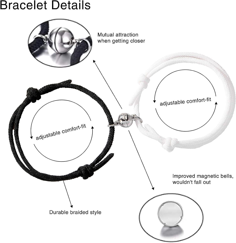 Couples Bracelets Magnetic Mutual Attraction Matching Relationship Rope Adjustable Bracelets for Women Men Boyfriend Girlfirend Lover Him Her Bestfriend 2 PCS EXGOX
