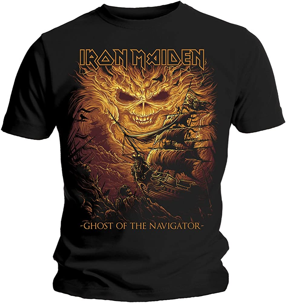 Tee Shack Iron Maiden Ghost of The Navigator Steve Harris Oficial Camiseta para Hombre