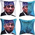 cygnus The Office Prison Mike Flip Sequin Pillow Cover,Magic Reversible Throw Pillow Case Change Color Decorative Pillowcase 16x16 inches (Blue Sequin)