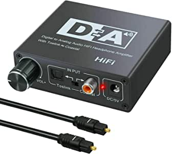 TERSELY 192kHz DAC Digital to Analog Converter with Volume Control, Digital Coaxial Stereo L/R RCA 3.5mm Audio Adapter w/Toslink Optical Cable for Xbox DVD Blu-ray PS4 AV Amps Home Cinema Systems