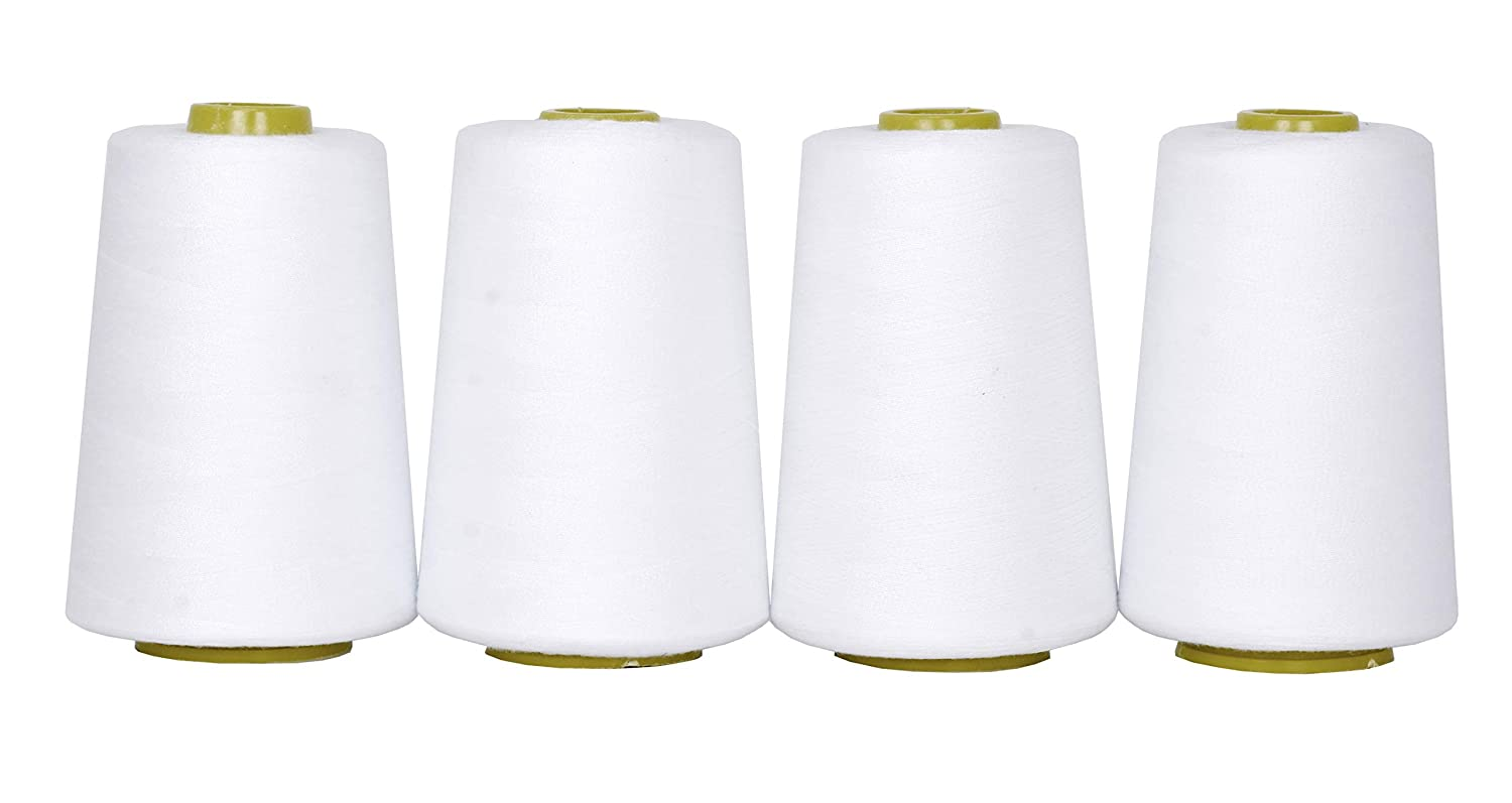 Mandala Crafts All Purpose Sewing Thread from Polyester for Serger, Overlock, Quilting, Sewing Machine (4 Cones 6000 Yards Each,White)