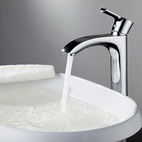Sprinkle® Deck Mount Centerset Solid Brass Bathroom Sink Faucet Chrome  Finish Curve Spout Single Handle