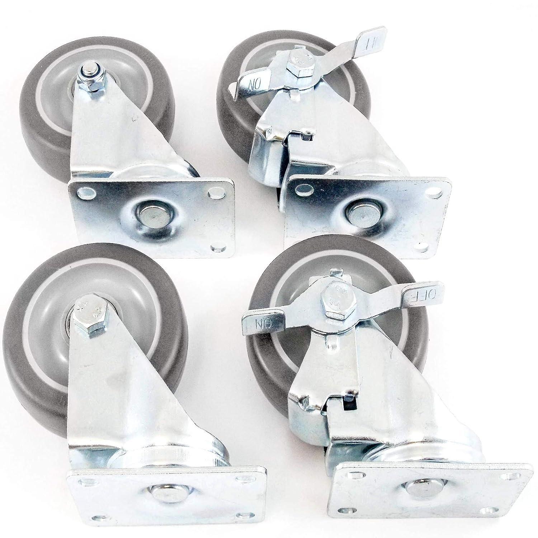 4 Caster Wheels Heavy Duty Set 2 Swivel 2 Side Brake No Mark Non Skid 4