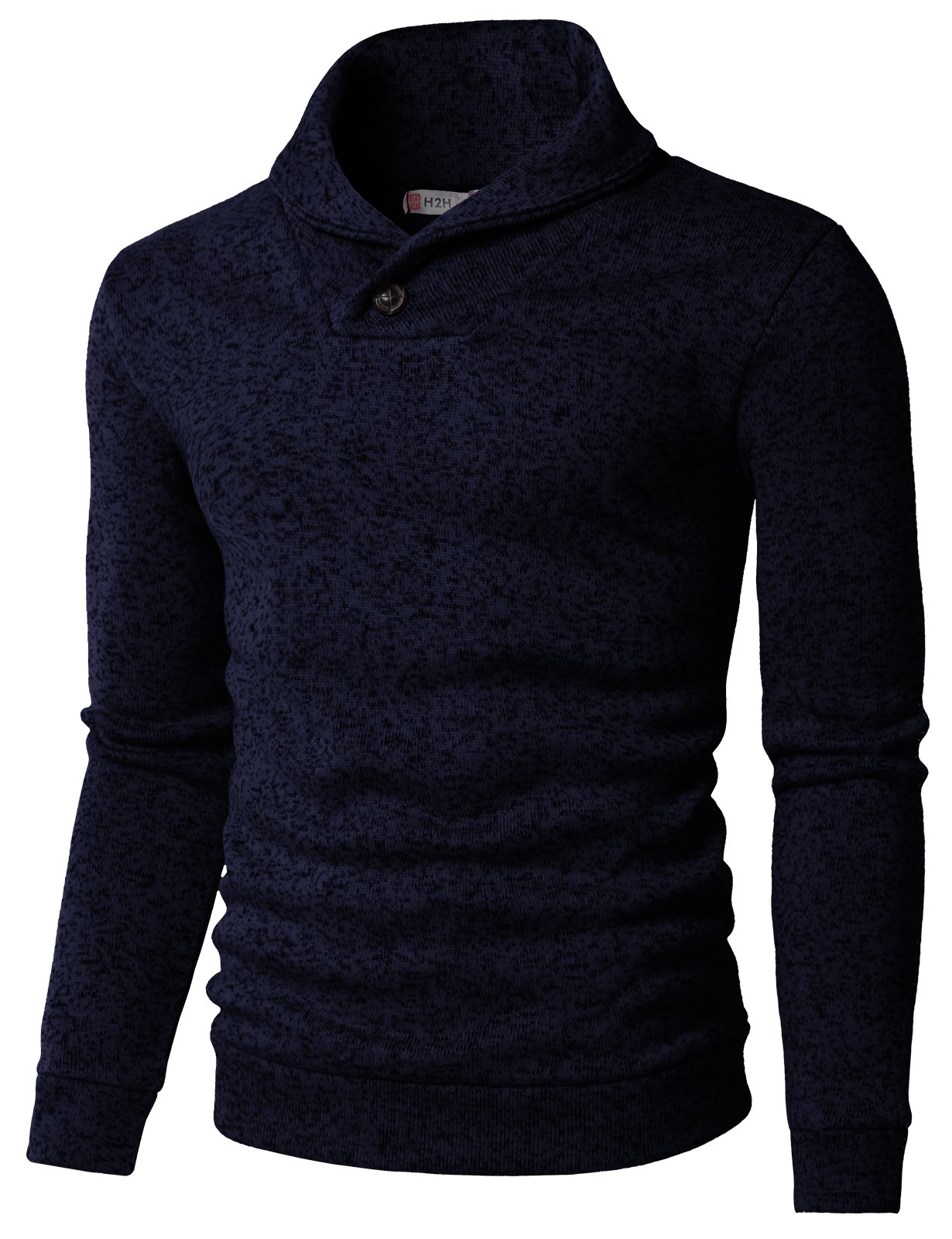 H2H Mens Knited Slim Fit Pullover Sweater Shawl Collar With One Button Point NAVY US L/Asia XL (KMOSWL036)