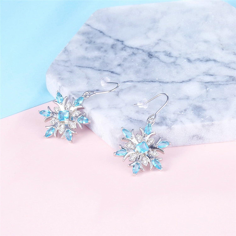 Epinki Stud Earrings for Women Girls Gold Plated Women Earrings Snowflake Silver Blue Earrings