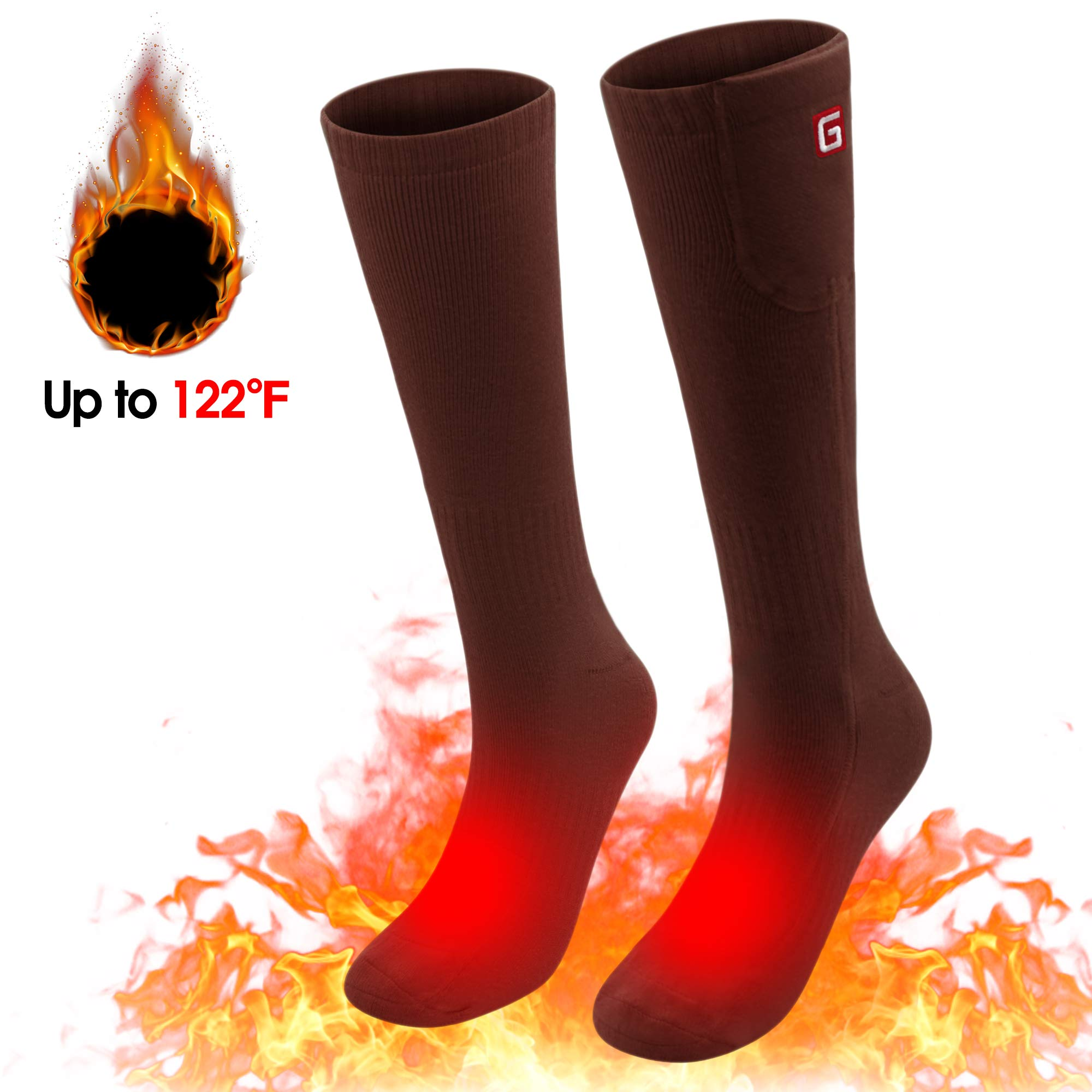 Spring Heated Socks,3.7V 2200MAH Electric Rechargeable Battery Heating Socks for Men Women Warm Cotton Socks Foot Warmer Hot Feet (Brown) by Unknown