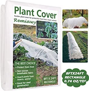 Remiawy Plant Covers Freeze Protection Frost Cover Plant Blanket for Cold Weather -Reusable Frost Blankets for Plants Floating Row Cover for Vegetables Insect Protection Season Extension(8FTX24FT)