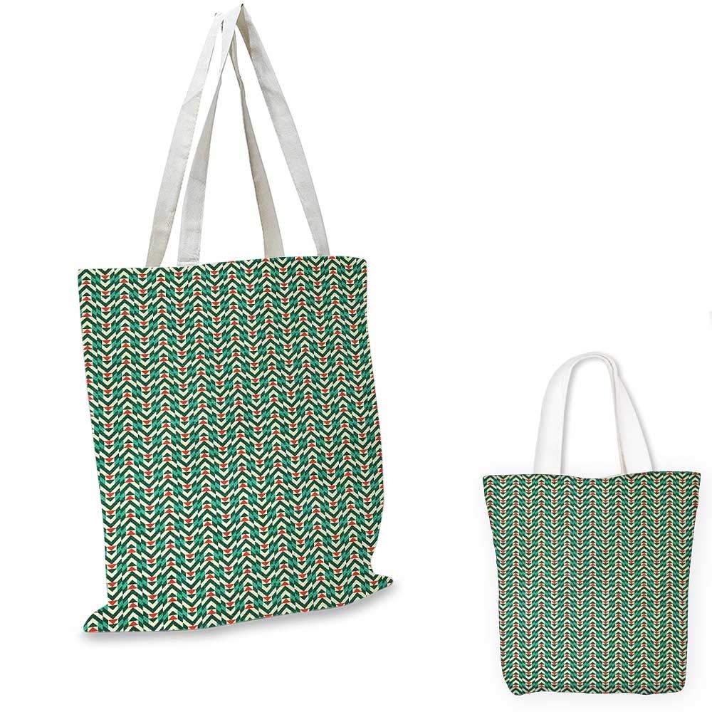 Geometric canvas messenger bag Herringbone Pattern with Angled Stripes and Rhombuses Triangles canvas beach bag Vermilion Fern Green Beige 14x16-11