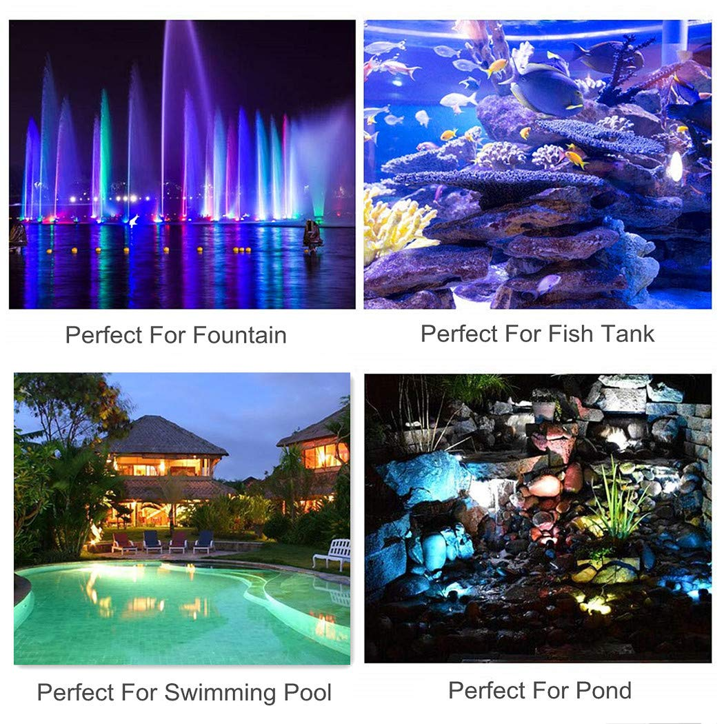 1-Pack (Upgraded) WEGEEY Pond Light Waterproof IP68 Underwater Submersible Spotlights with Remote 36 LED Multi-Color /& Adjustable /& Dimmable Aquarium Garden Fountain Waterfall Pool Tank Lights
