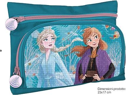 Estuche con 2 bolsillos/cremalleras Frozen 2 Elsa y Anna Personajes en relieve: Amazon.es: Oficina y papelería