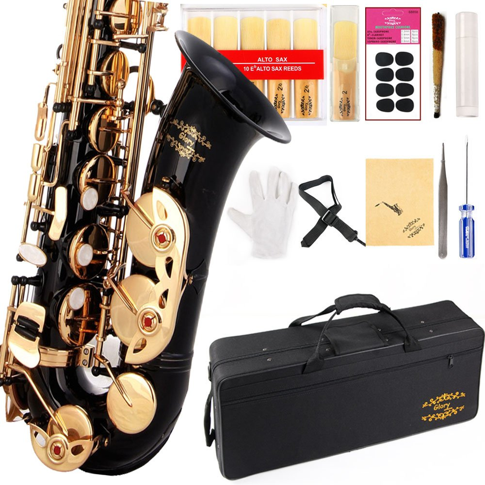 Glory Black/Gold Keys E Flat Professional Alto Saxophone sax with 11reeds,8 Pads cushions,case,carekit-More Colors with Silver or Gold keys by GLORY