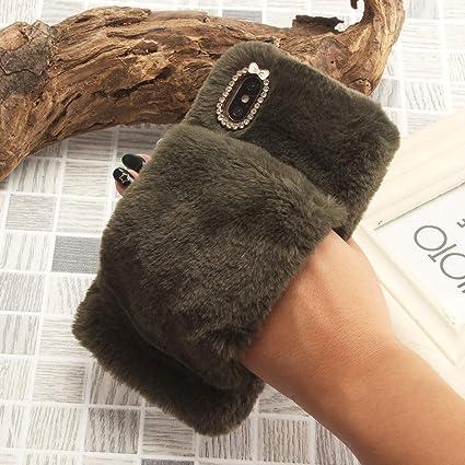 SevenPanda für iPhone X Hülle Armband Griffhalter, für iPhone XS Handheld Hülle, Pelzigen Frauen Girly Nette Diamanten Bowkno