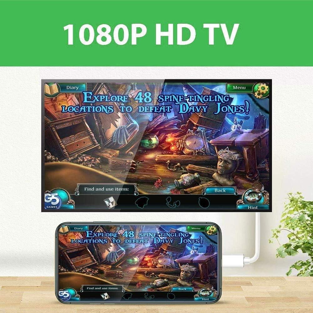 adaptador AV digital 1080P compatible con iOS 12 antes compatible con iPhone XS//XR//X//8//7//6//5 Series//Pad Air//Mini//Pro Adaptador HDMI para tel/éfono