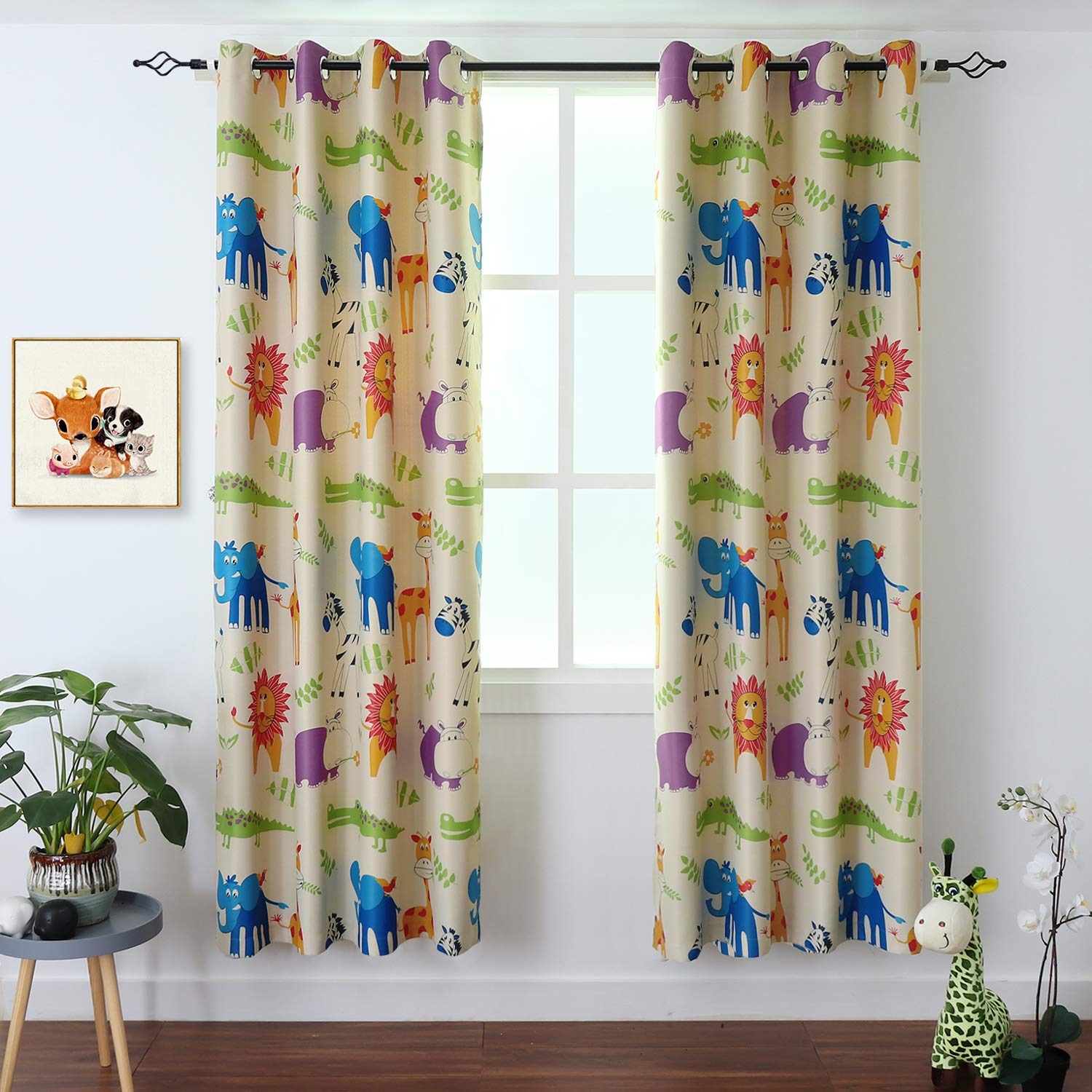 BGment Kids Blackout Curtains - Grommet Thermal Insulated Room Darkening Printed Animal Zoo