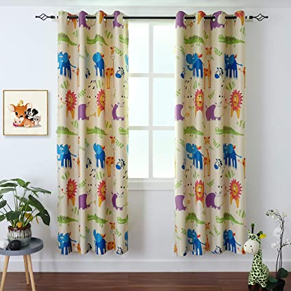 BGment Kids Blackout Curtains - Grommet Thermal Insulated Room Darkening  Printed Animal Zoo Patterns Nursery and Kids Bedroom Curtains, Set of 2 ...