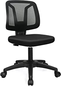 VigorPow Armless Mesh Office Chair Ergonomic Swivel Black Small Computer Desk Chair No Arms with Lumbar Support Height Adjustable Task Chair for Adults and Kids