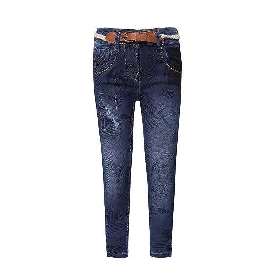 bc2cf46045 Tales   Stories Girl s Dark Blue Denim Slim Fit Trouser  Amazon.in   Clothing   Accessories