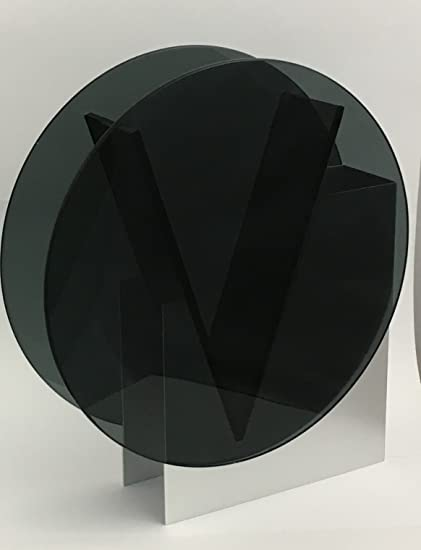 Amazon Contemporary Round Black Glass Vase With Aluminum Stand