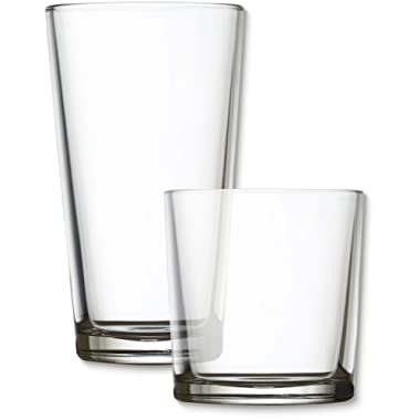 Circleware 44088 Spirit Huge 16-Piece, 8-15.7 oz & 8-12.5 oz, Set of Highball Tumbler Drinking Glasses and Whiskey Cups, Home Party Glassware for Water Beer Ice Tea Juice Beverages, Simple