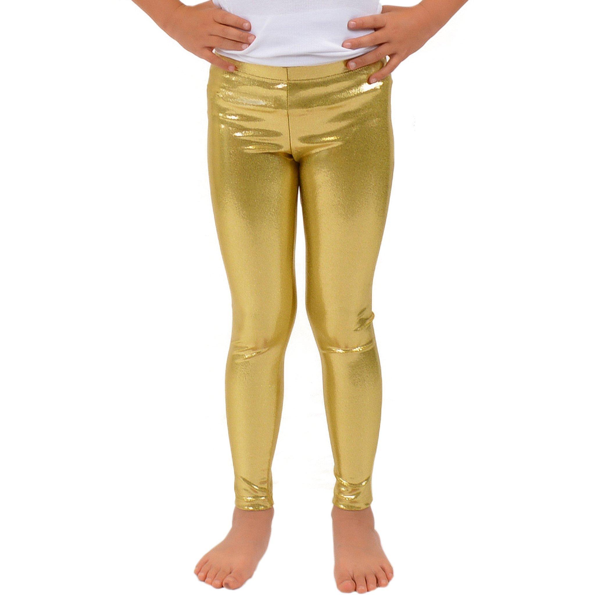 Stretch is Comfort Girl's Metallic Mystique Leggings Gold X-Small