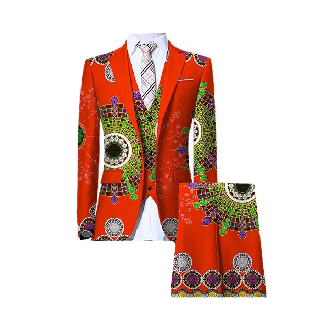 Abetteric Men African Wax Fabric Dashiki 3 Piece Suit Blazer Vest Pants Set Orange 4XL