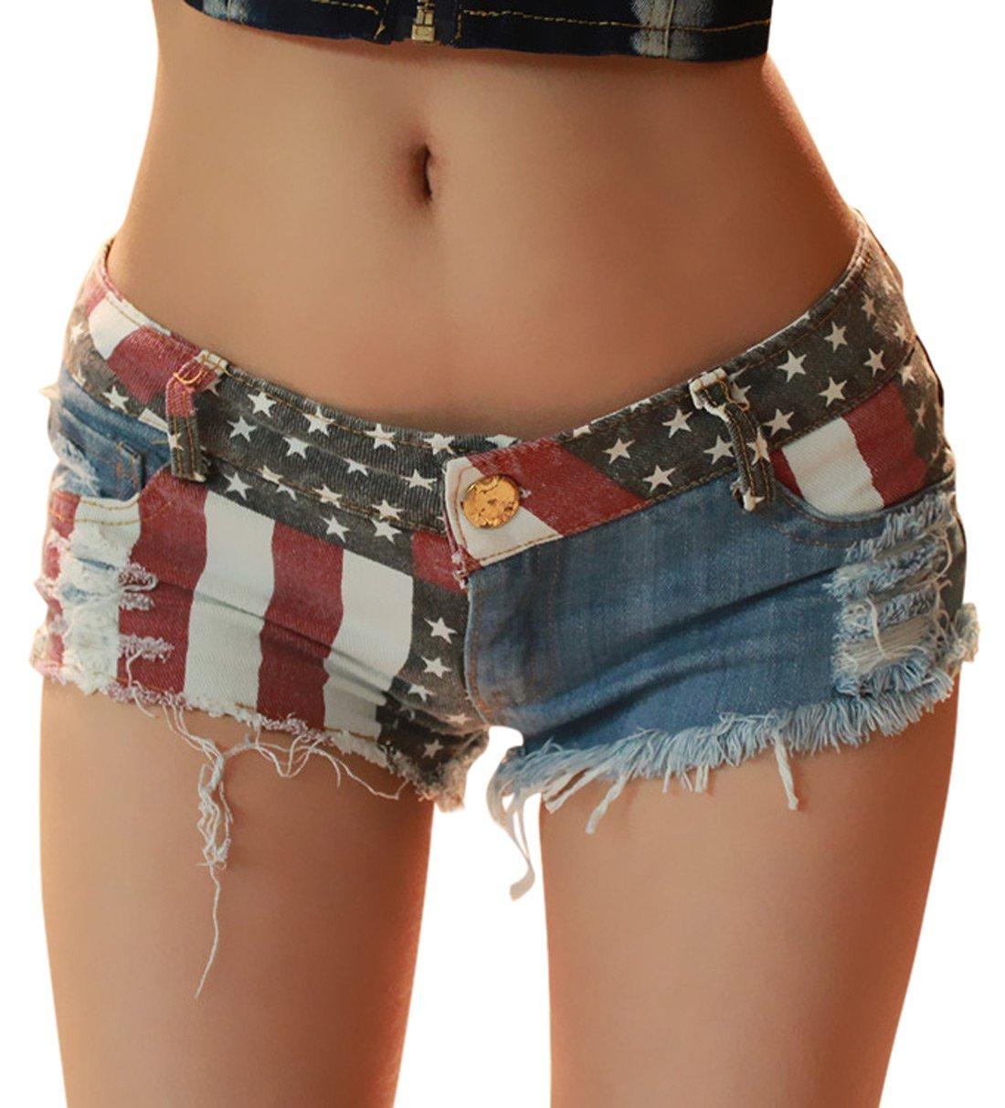 Chouyatou Women's Low-Rise American Flag Print Daisy Duke Ripped Denim Shorts (Small, Blue)