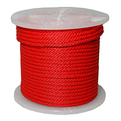 T.W Evans Cordage 98330 3/8-Inch by 500-Feet Solid Braid Propylene Multifilament Derby Rope, Red