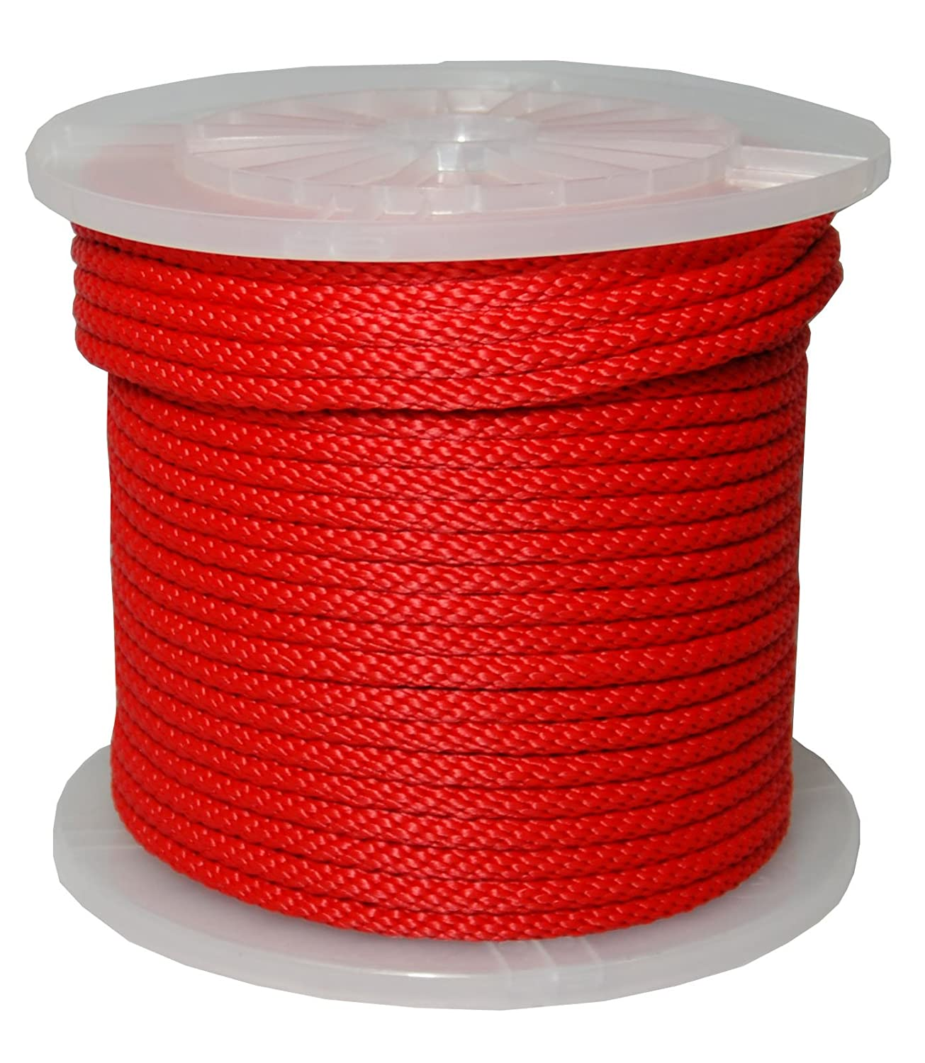 T.W Evans Cordage 98330 3//8-Inch by 500-Feet Solid Braid Propylene Multifilament Derby Rope Red