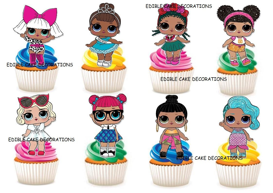 LOL Dolls Cake Topper Cupcake Toppers Edible Image Decoration For Baby Theme Par
