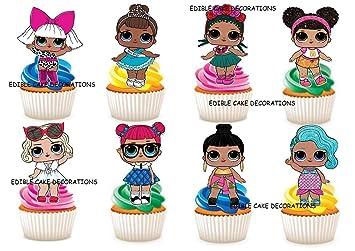 Ensemble de 30 décorations en papier comestible pour gâteaux à l\u0027effigie  des poupées LOL