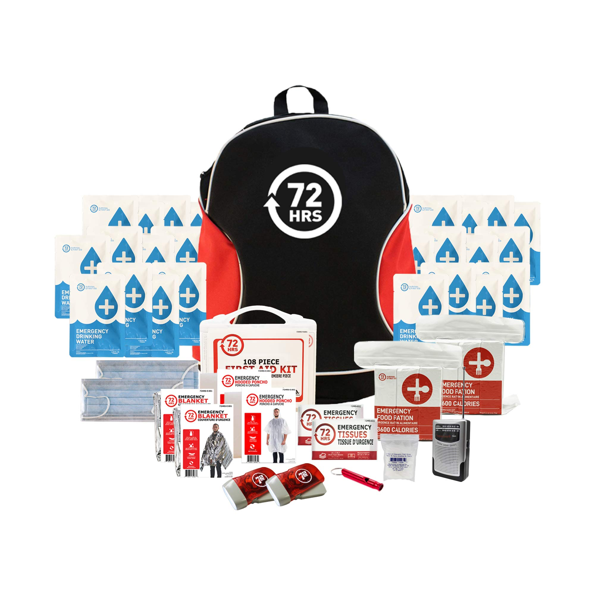 Earthquake Kit, Emergency Kit for 2 Persons - 72 Hours Backpack Essential Kit by 72HRS by 72HRS