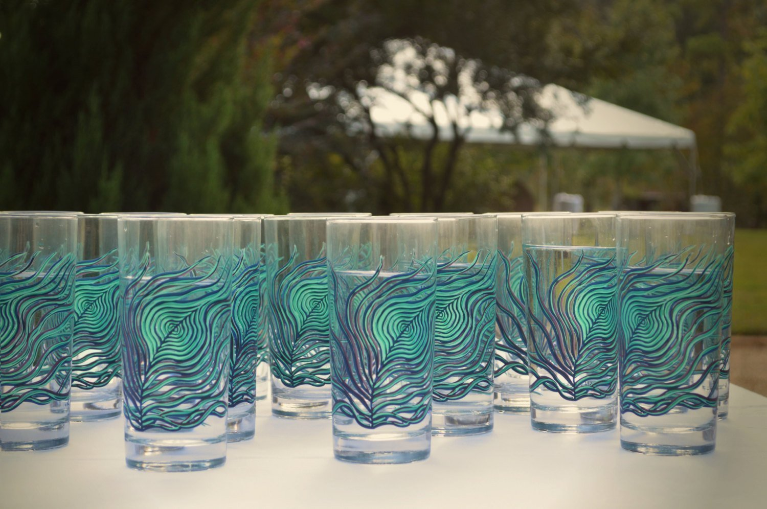 Peacock Feather Glassware - Set of 2 Hand Painted Glasses, M Gift for Her, Everyday Drinking Glasses
