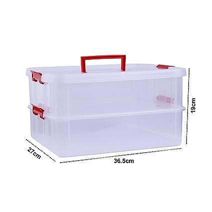 Kurtzy Plastic Storage Box Double Layer Transparent Portable