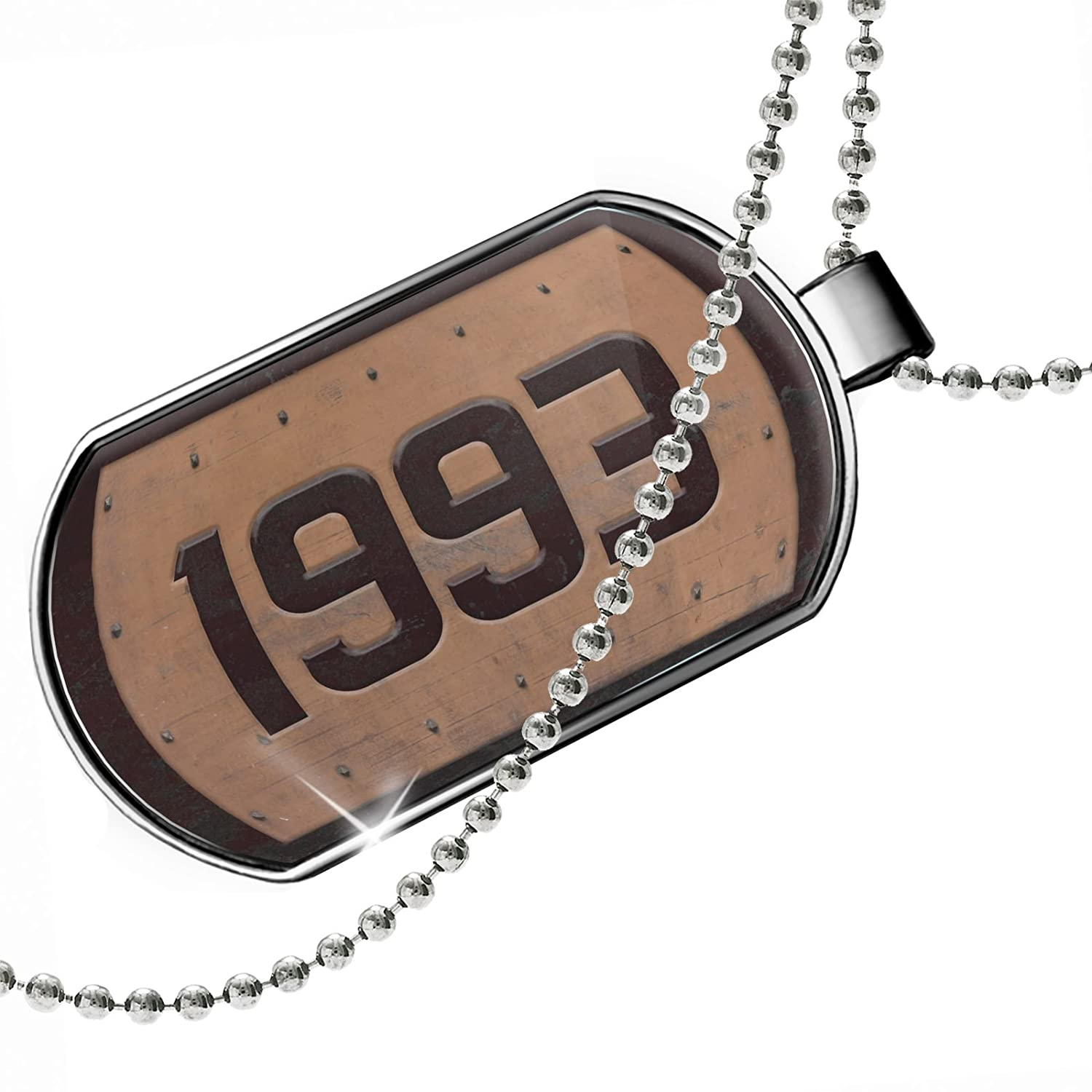 NEONBLOND Personalized Name Engraved Industrial Metal Rusty Year 1993 Dogtag Necklace
