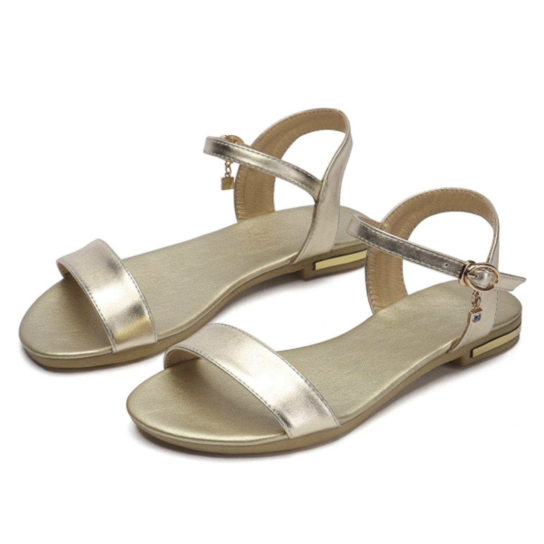 Women Sandals Genuine Leather Soft Rubber Sole Basic Buckle Strap Size 34-43 Women's Summer Shoes SS168 B07CVR5K64 9 B(M) US|Gold