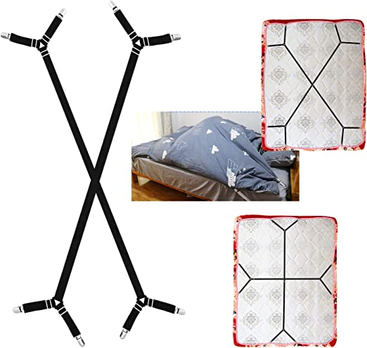 Mattress Covers QoeCycth Bed Sheet Holder Straps Triangle Elastic Mattress Cover Holder Fasteners for All Bed Sheets 2Pcs Adjustable Crisscross Fitted Sheet Band Straps Grippers Suspenders