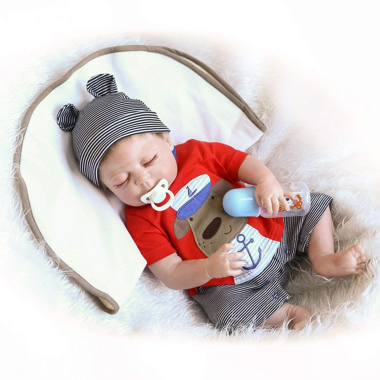 Reducción de precio Kawaii Silicona Suave Reborn Sleeping Baby Doll Realista Muñeca Recién Nacida Se ve