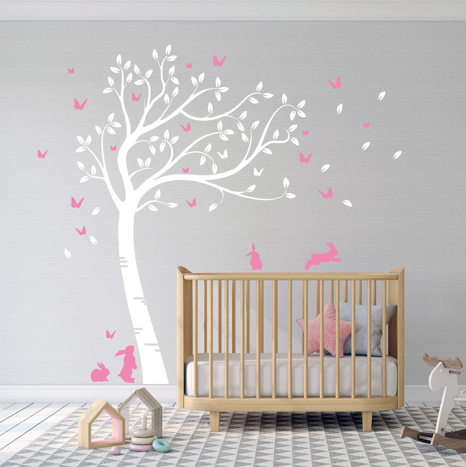 Full Size Beautiful Bunny Rabbits Tree Nursery Room Wall Decal Sticker DD007 (White/Pink) by DesignDivil
