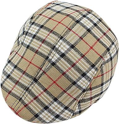 Beige Plaid Ivy Newsboy Cap