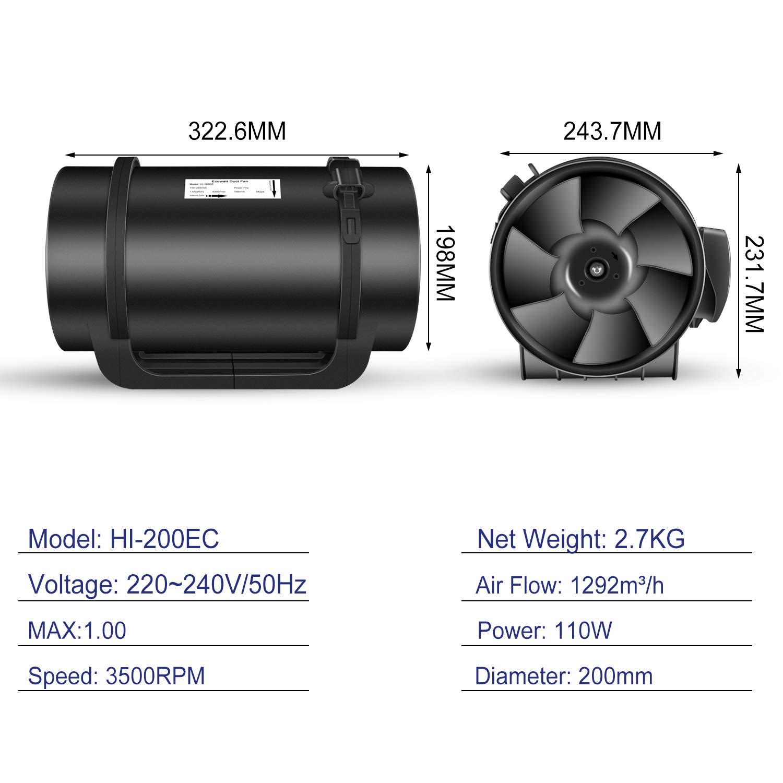 Hydroponik Hon/&Guan Axialer Rohrventilator 200mm mit Variabler Geschwindigkeitskontrolle Geringer Verbrauch Inline-Kanalventilator f/ür B/üro Wachstumszelte