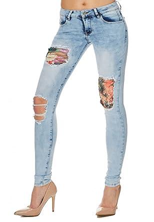 Damen Jeans Blau Waschungen Destroyed Jeans Blumenmuster Hose für Frauen